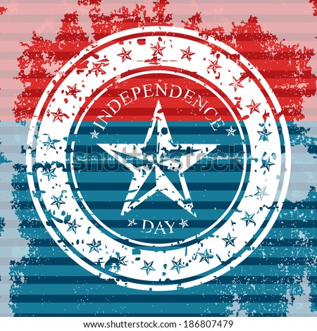 Grungy flag background with isolated stamp for 4th July or Independence day - stock vector