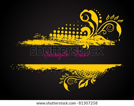 grungy floral pattern background frame, vector illustration - stock vector