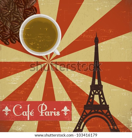 Grungy French coffee background - stock vector
