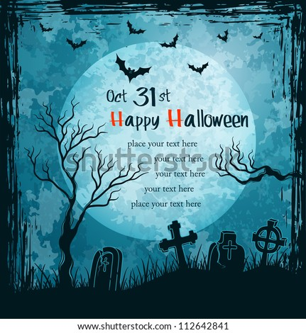 Grungy halloween background with full moon, tombstones and bats. Vector Illustration. - stock vector