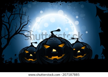 Grungy Halloween Background with Moon and Pumpkins - stock vector