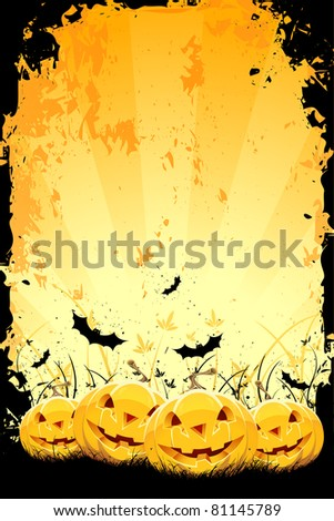 Grungy Halloween background with pumpkins in grass and bats