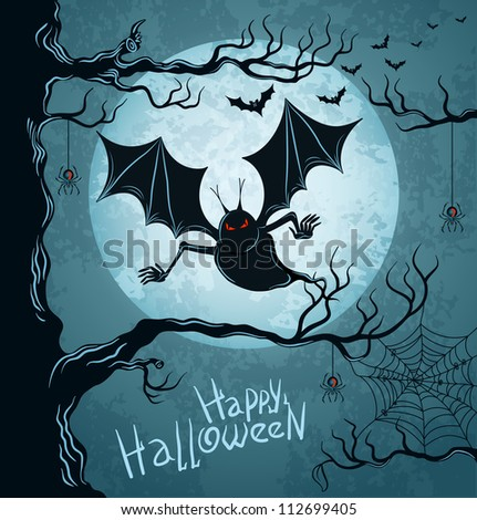 Grungy halloween background with terrible vampire, full moon, bats and spiders. Vector Illustration.