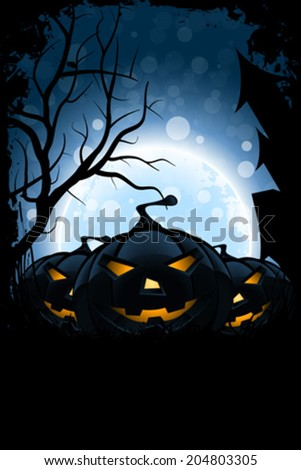 Grungy Halloween Card with Moon and Bats - stock vector