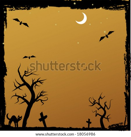 grungy halloween image with spooky trees and cat - stock vector