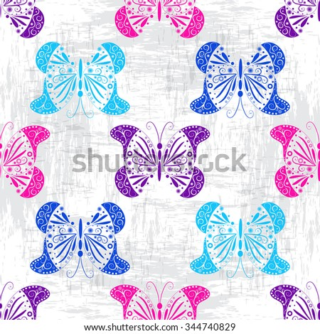 Grungy light pattern with colorful vintage butterflies, vector eps 10 - stock vector