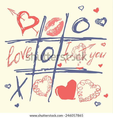 grungy love and heart vector,valentines day card - stock vector