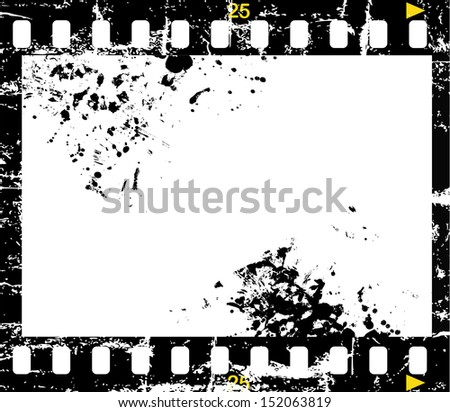 grungy negative film, picture frame - stock vector