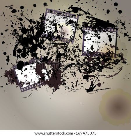 grungy negative film set, empty picture frames, free copy space - stock vector