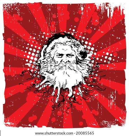 Grungy Old Santa Claus - Christmas Design - stock vector