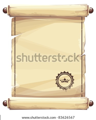 Grungy parchment background with crown emblem. - stock vector