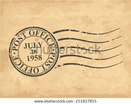 Grungy postal stamp, vector illustration - stock vector
