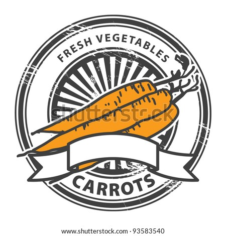 Grungy rubber stamp with Carrots shape and the words Carrots, Fresh Vegetables written inside the stamp, vector illustration