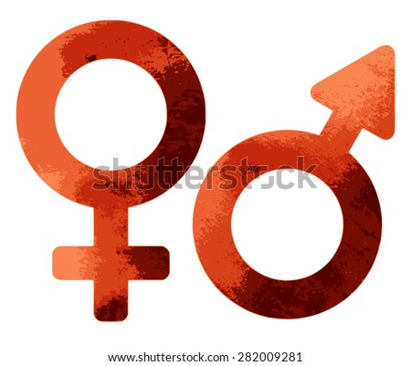 Grungy sex symbols isolated on white background - stock vector