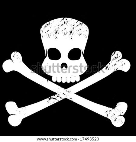 grungy skull and cross bones symbol - stock vector