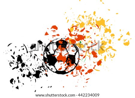 grungy soccer ball, colors of germany, vector - stock vector