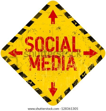 grungy social media sign / icon, w. hazard stripes - stock vector