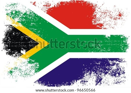 Grungy South African Flag - stock vector