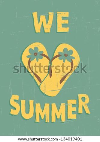 Grungy summer poster. I love summer concept. - stock vector