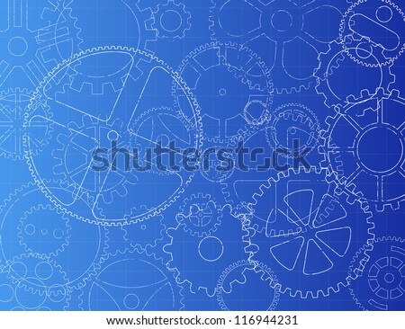 Grungy technical gears illustration on blue background - stock vector