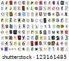 Grungy torn paper font vector. Multiple variations of upper and lower case letters, numbers and symbols - stock photo