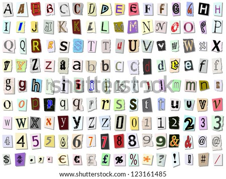 Grungy torn paper font vector. Multiple variations of upper and lower case letters, numbers and symbols - stock vector
