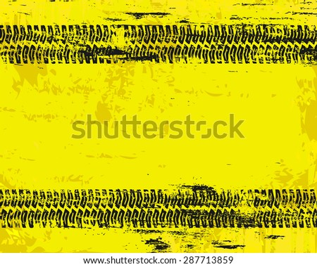 Grungy tyre marks tread pattern on warn sign vector background