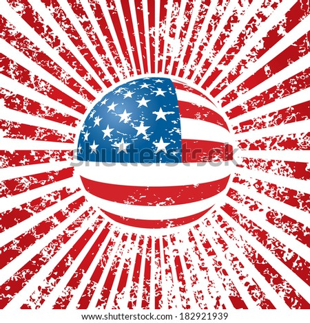 Grungy vector background with American flag.