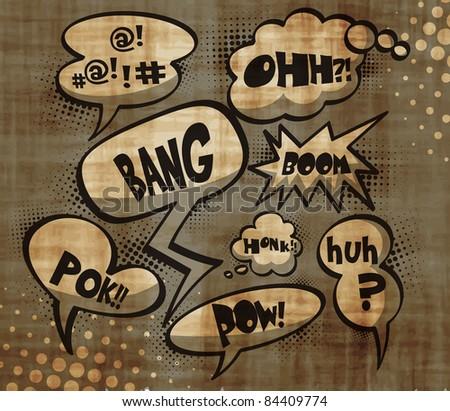 grungy vector bubbles for speech , editable illustration - stock vector