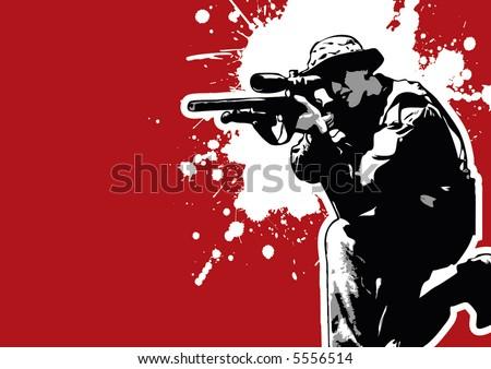 grungy vector sharp-shooter, aiming - stock vector