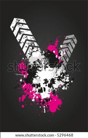 Grungy vector skull - stock vector