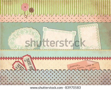 Grungy Vintage Scrapbook Set - Old Paper Pockets, Borders, Labels, Clothing Buttons, Tickets, Sayings, Patterned Scraps - stock vector