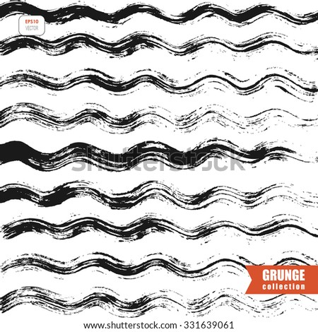 grungy wallpaper with wavy lines, black and white vector background - stock vector