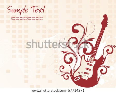 grungy wave background with floral pattern guitar, illustration - stock vector