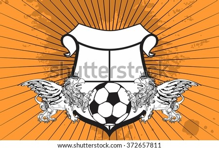 gryphon soccer crest coat of arms background in vector format very easy to edit - stock vector