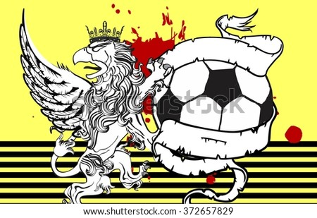gryphon soccer crest coat of arms background in vector format very easy to edit