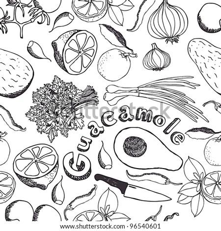 Guacamole kitchen background - stock vector