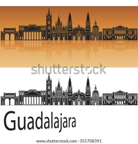 Guadalajara skyline in orange background in editable vector file - stock vector