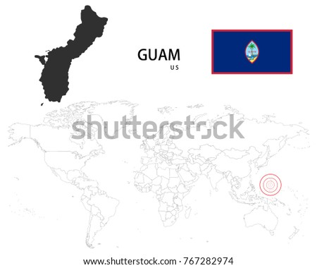 Guam us map on world map stock vector 2018 767282974 shutterstock guam us map on a world map with flag on white background gumiabroncs Choice Image