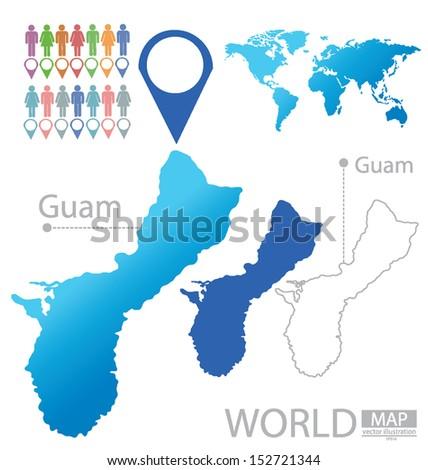 Guam World Map Vector Illustration Stock Vector - Guam world map