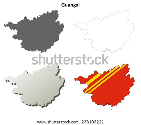 Guangxi blank outline map set - stock vector