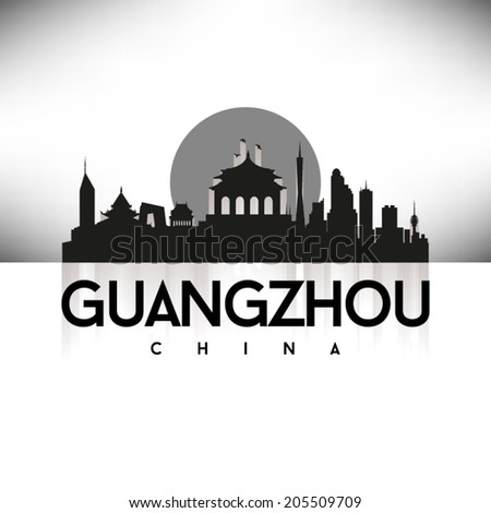 Guangzhou China Black Skyline Silhouette vector illustration, Typographic design. - stock vector