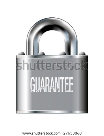 Guarantee icon on stainless steel padlock vector button