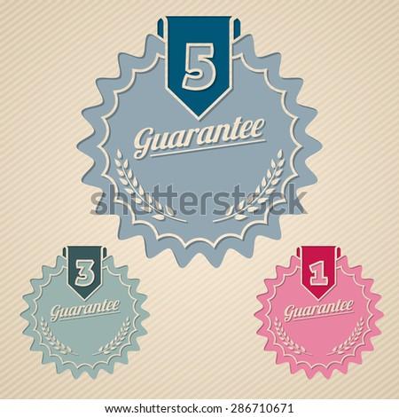Guarantee icon set of three flat style - stock vector
