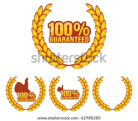 guaranteed label and button - stock vector