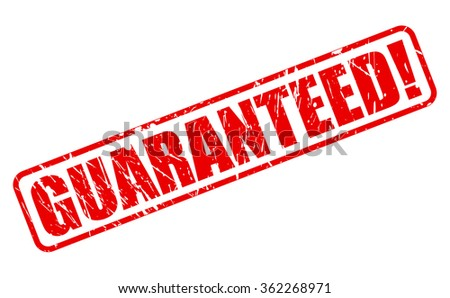 GUARANTEED red stamp text on white - stock vector