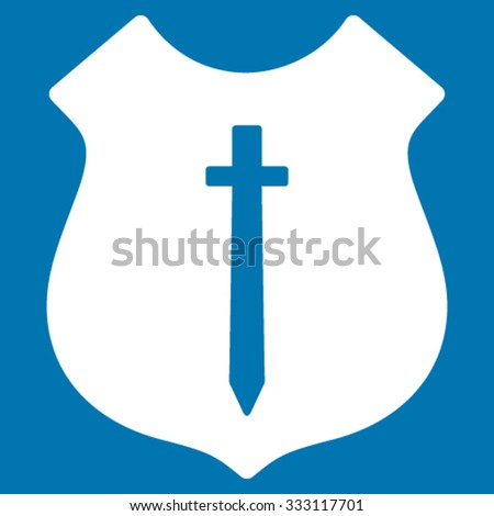 Guard Shield vector icon. Style is flat symbol, white color, rounded angles, blue background.