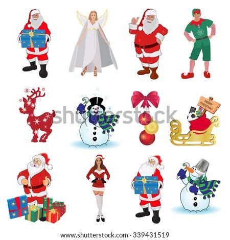 Guardian angel, elf, Santa, helper girl, snowman, deer, Christmas set, vector illustration - stock vector