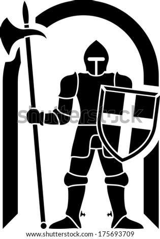 guardian. stencil. vector illustration - stock vector