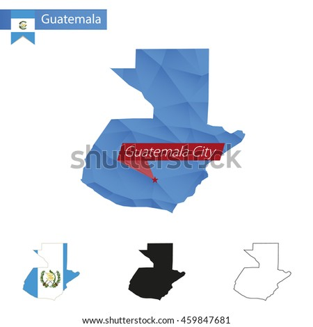 Guatemala blue Low Poly map with capital Guatemala City, versions with flag, black and outline. Vector Illustration. - stock vector